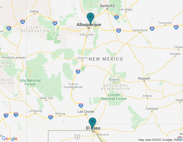 Map of Albuquerque, NM